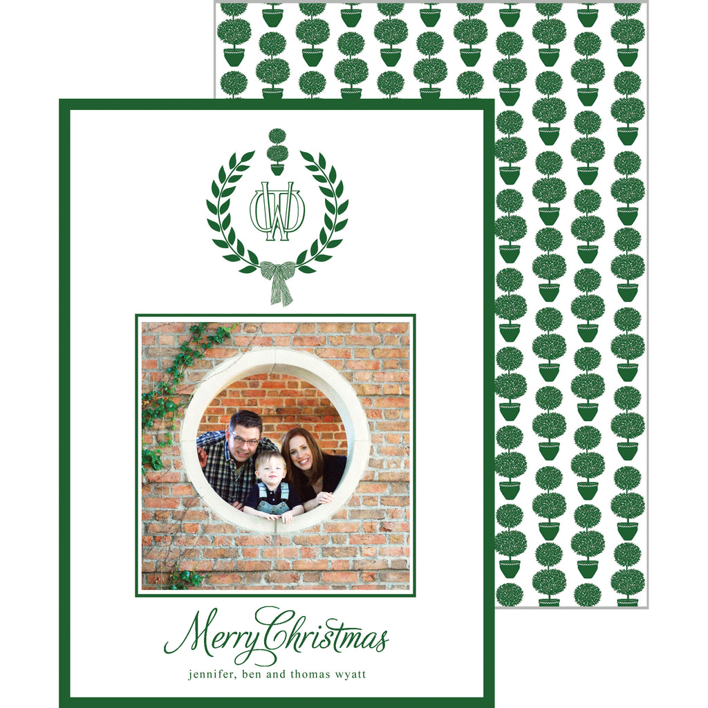 Topiary Laurel Monogram Christmas Photo Card
