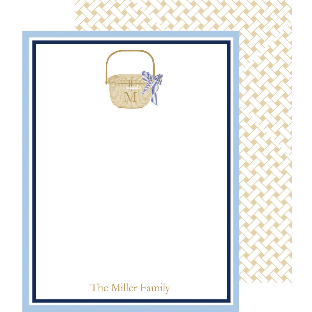 Nantucket Basket Personalized Flat Notecards