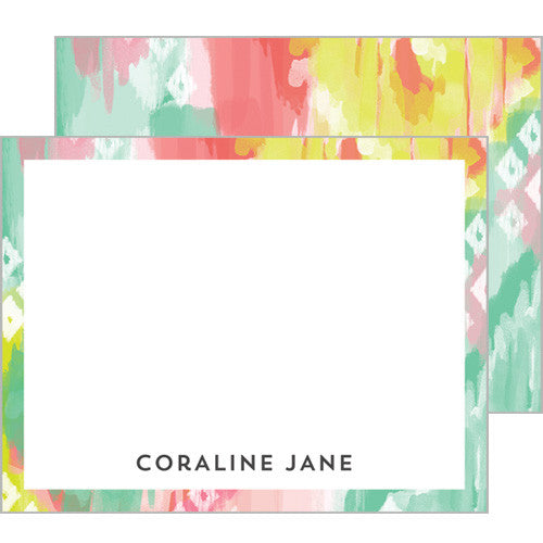 Pink and Aqua Watercolor Brushstrokes Personalized Flat Notecards