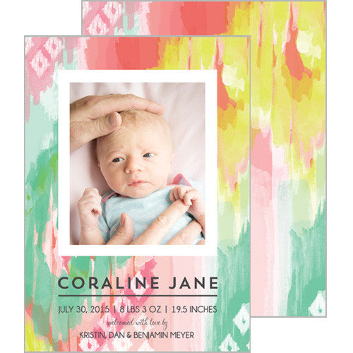 Pink and Aqua Watercolor Brushstrokes Photo Birth Announcement