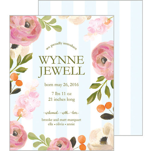Pink Watercolor Flowers and Blue Stripe Flat Birth Announcement