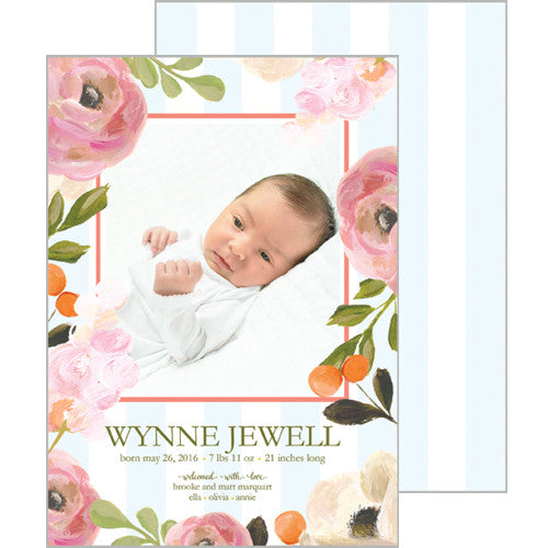 Watercolor Floral and Blue Stripe Photo Birth Announcement