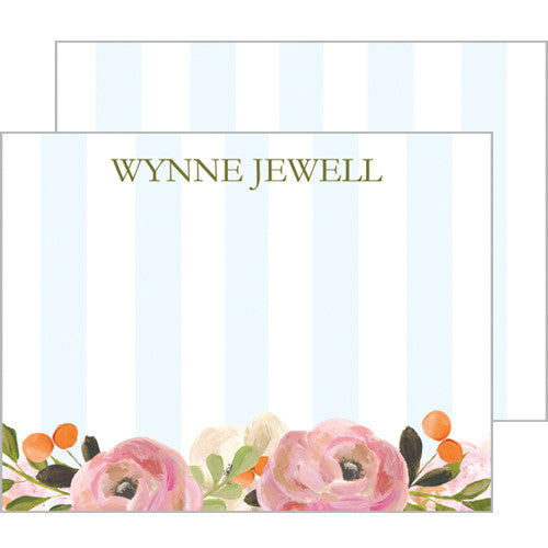 Pink Watercolor Flowers and Blue Stripe Personalized Flat Notecards