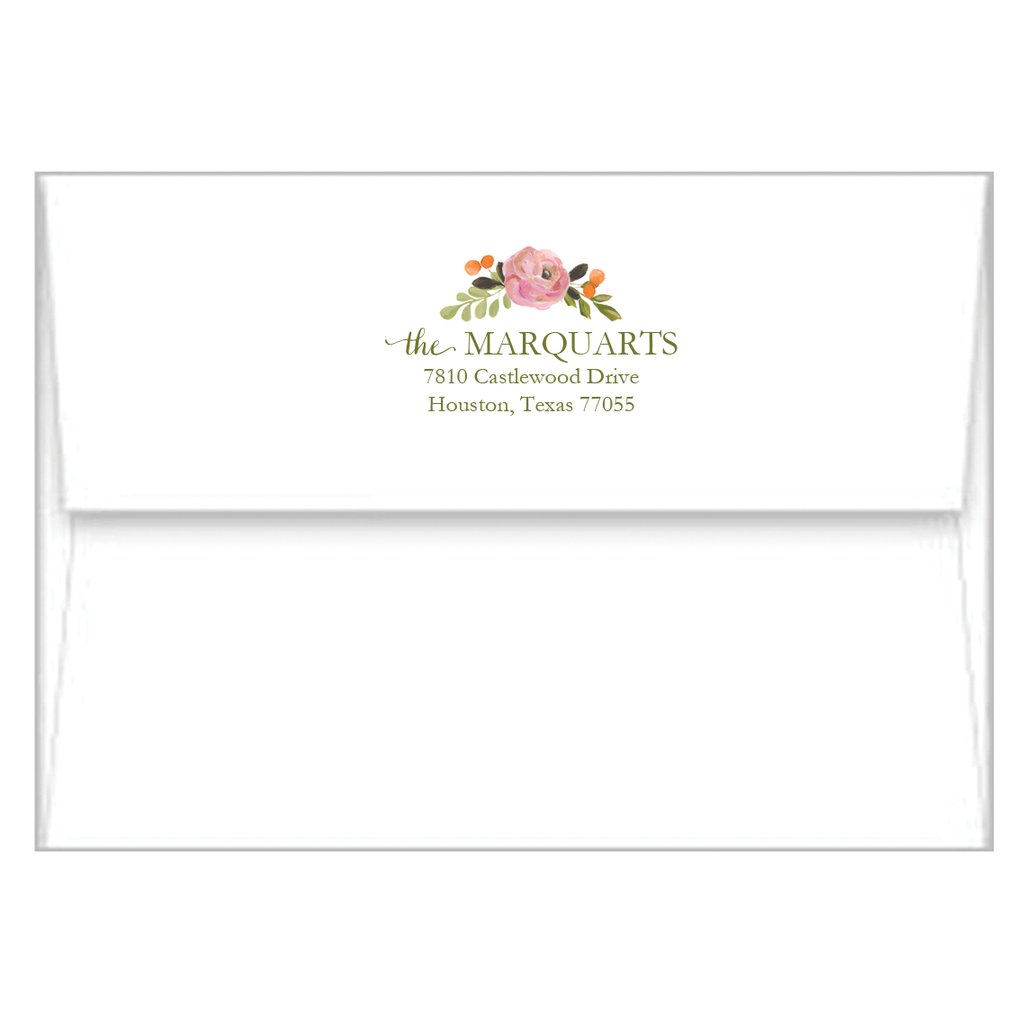 Watercolor Floral Personalized Flat Notecards