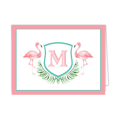 Watercolor Pink Flamingo Personalized Folded Notecards