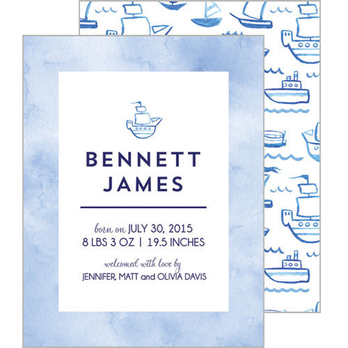 Blue Watercolor Sailboats Flat Birth Announcement