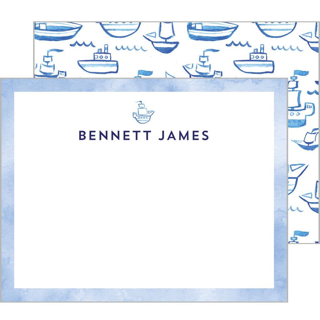 Blue Watercolor Sailboats Personalized Flat Notecard
