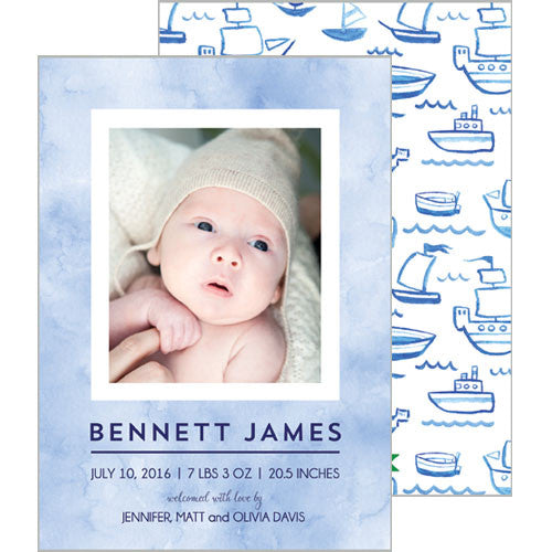 Blue Watercolor Sailboats Photo Birth Announcement