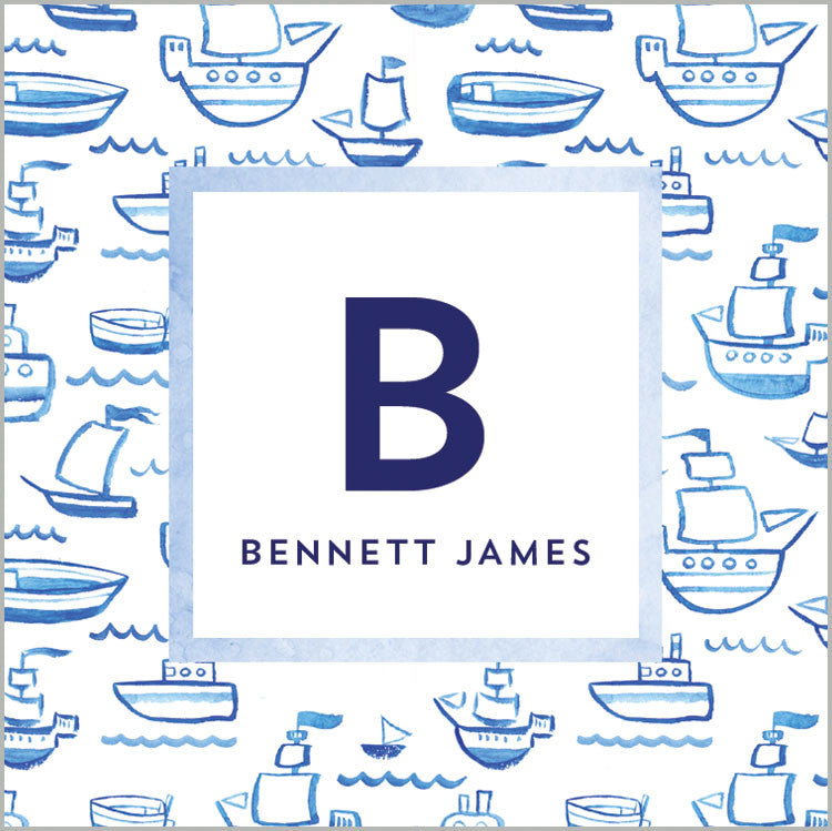 Blue Watercolor Sailboats Square Gift Stickers