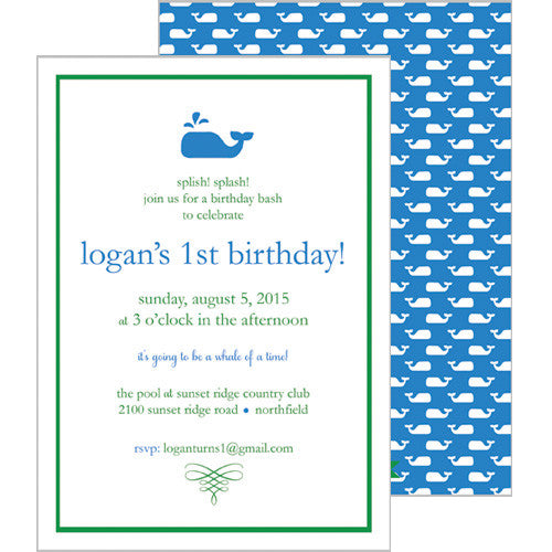 Little Whale Invitation - Cornflower