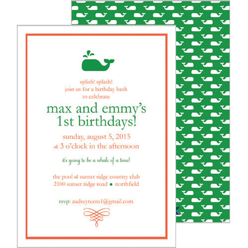 Little Whale Invitation - Green