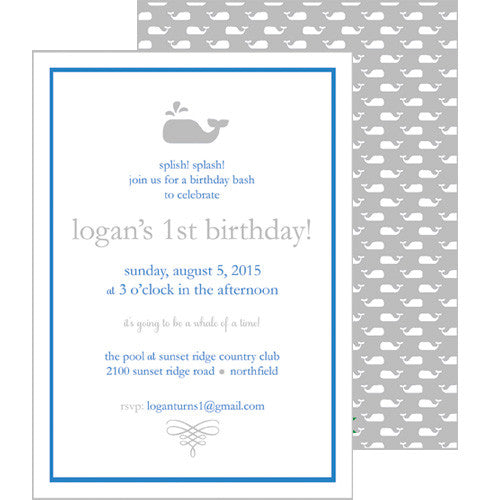 Little Whale Invitation - Grey