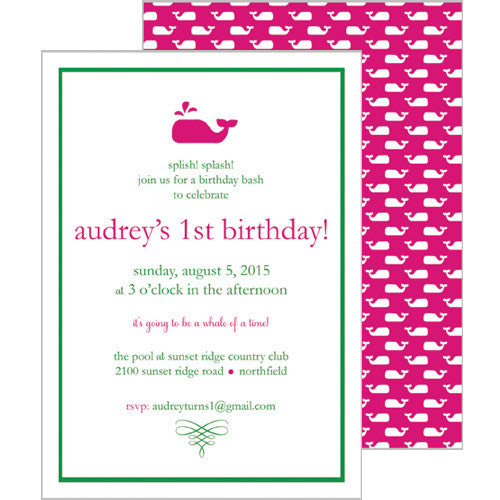Little Whale Invitation - Hot Pink
