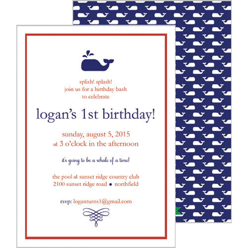 Little Whale Invitation - Navy Blue
