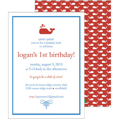 Little Whale Invitation - Red