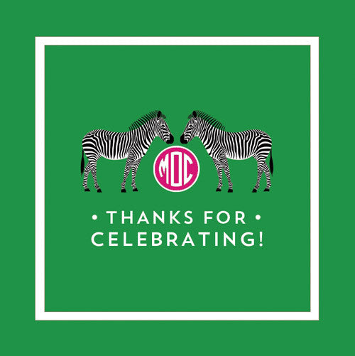 Zebra Monogram Gift Sticker - Set of 24 - Green