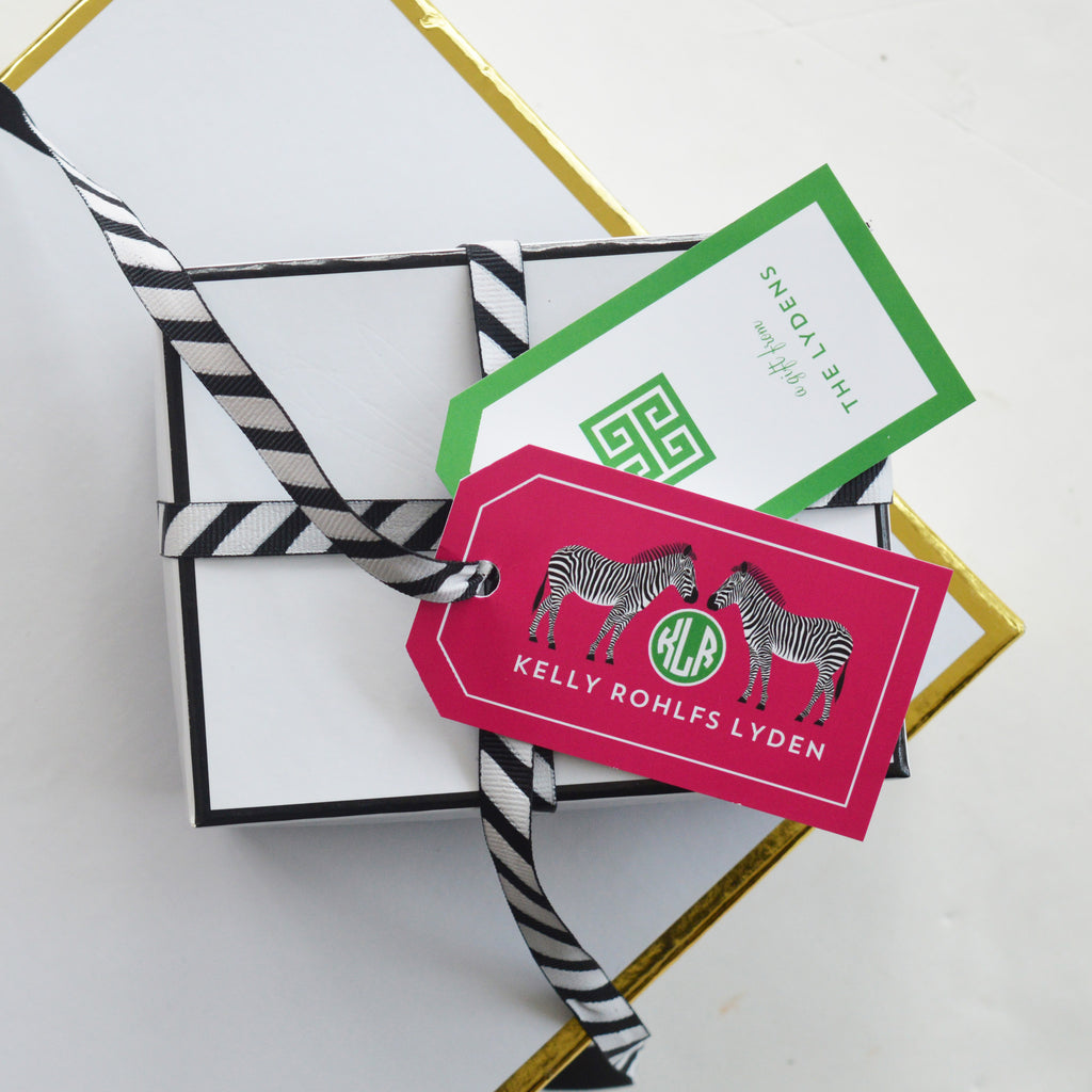 Zebra Monogram Personalized Gift Tags | More Colors