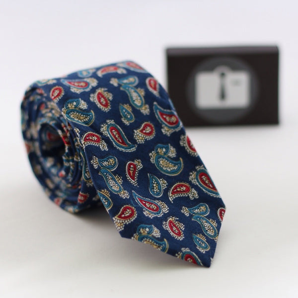 Navy Paisley Tie With Red And Blue Design