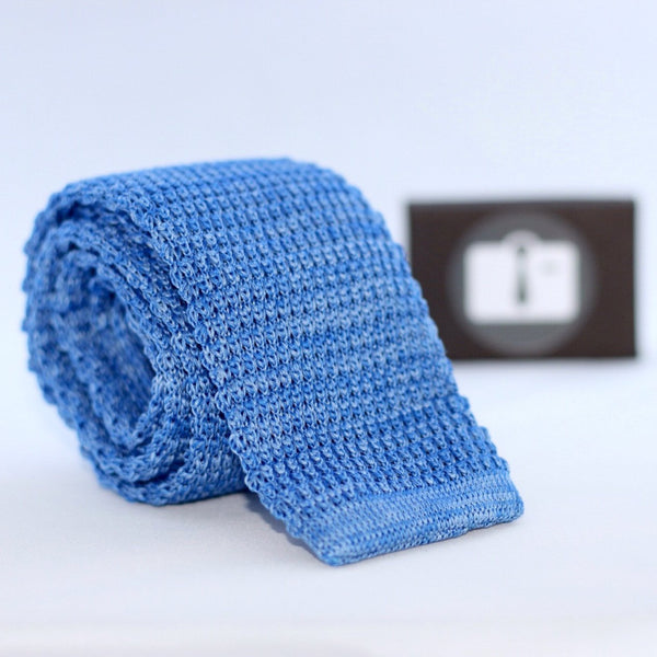 Blue And White Marl Textured Knitted Tie