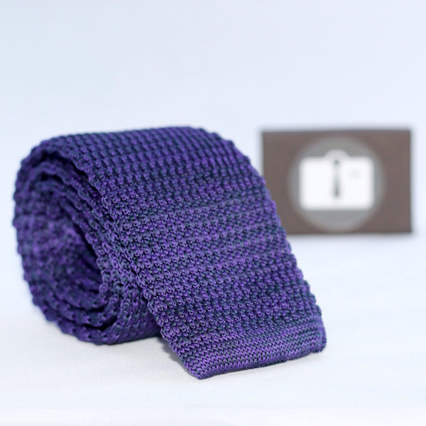 Purple And Black Marl Textured Knitted Tie
