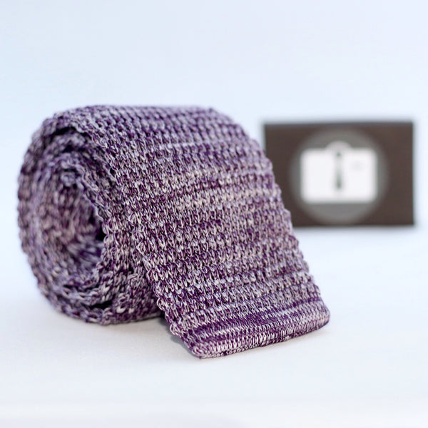 Purple And White Marl Textured Knitted Tie