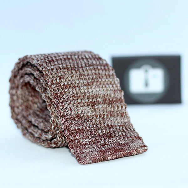 Brown And White Marl Textured Knitted Tie