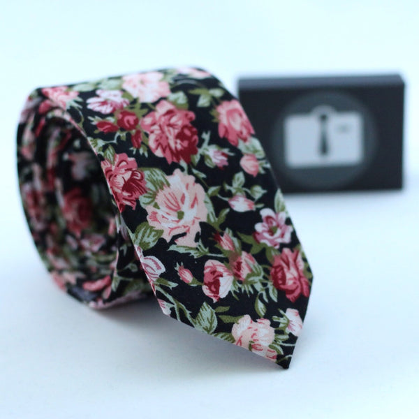 Black Floral Tie With Red Bloom Design