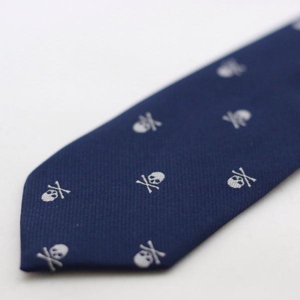 Navy Silk Tie With Skull Design