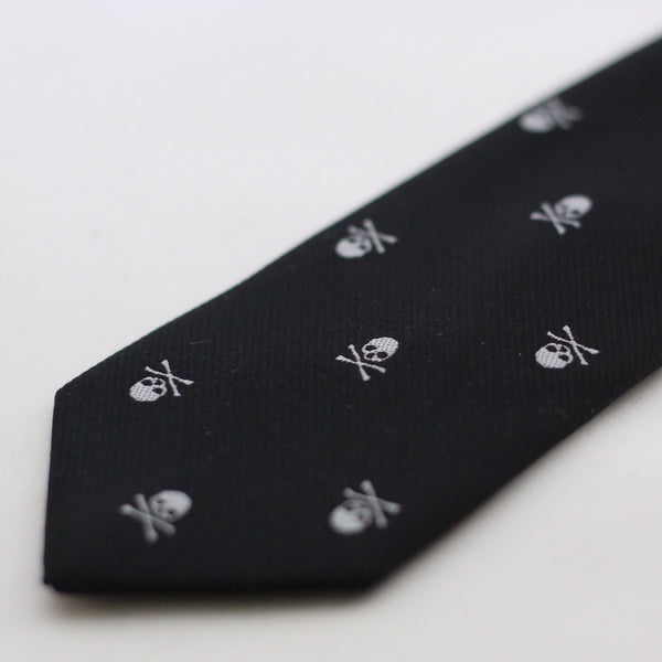 Black Silk Tie With Skull Design