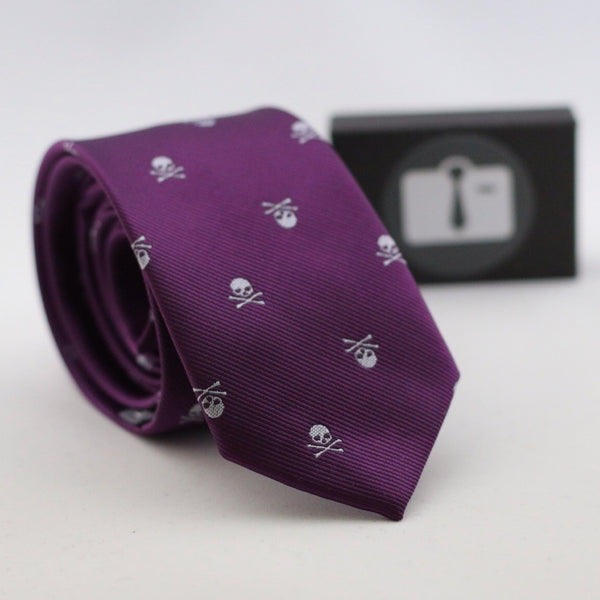 Purple Silk Tie With Skull Design