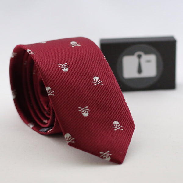 Burgundy Silk Tie With Skull Design