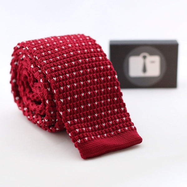 Crimson Knitted Tie With White Pixel Dots