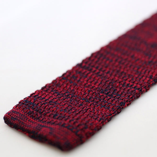 Red And Navy Marl Textured Knitted Tie