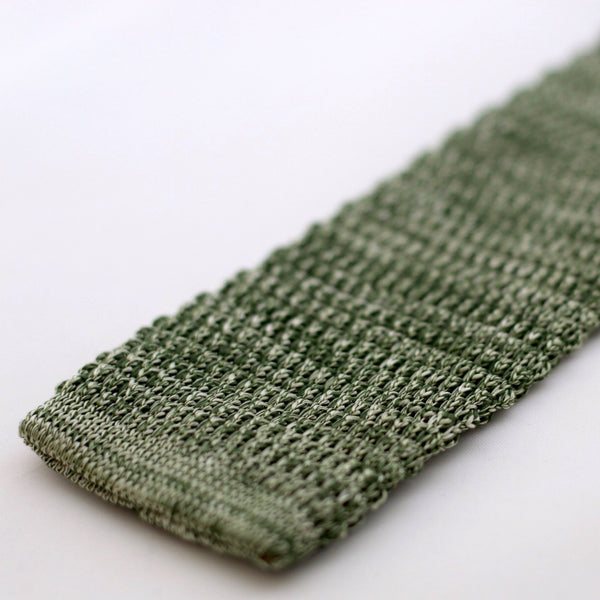 Green And White Marl Textured Knitted Tie