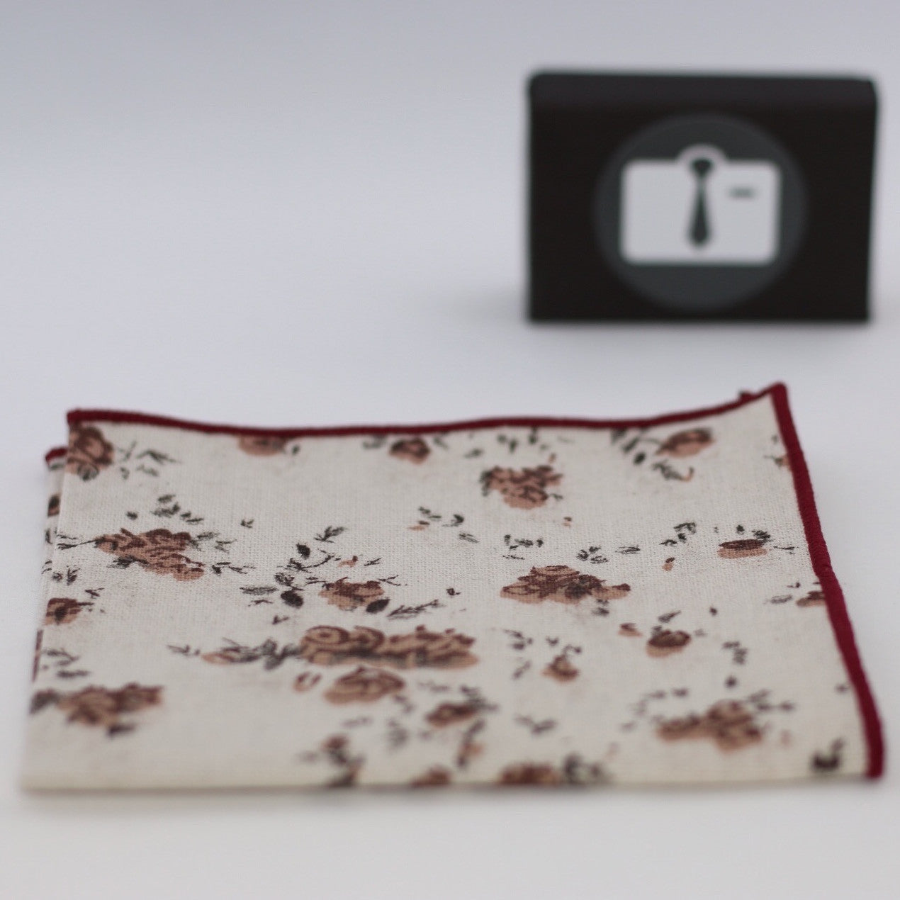 Ivory Floral Pocket Square With Red Blossom Design