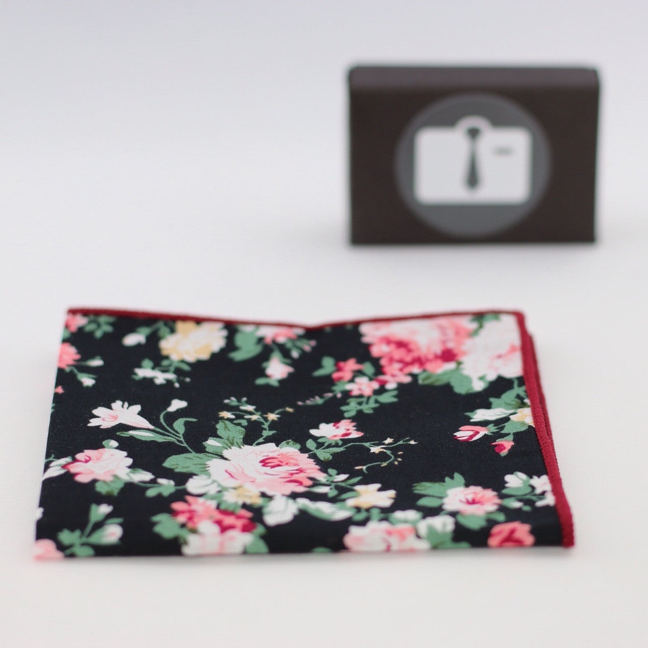 Black Floral Pocket Square With Pink Rose Design