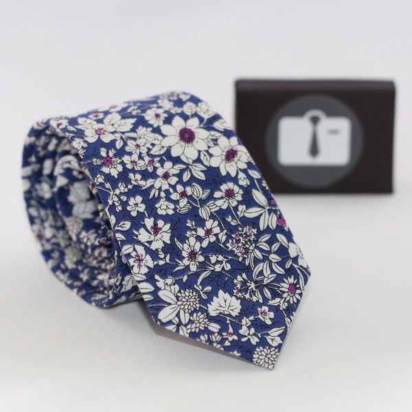 Blue Floral Tie With White Botanical Design