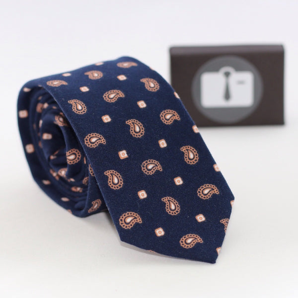 Navy Paisley Tie With Orange Design