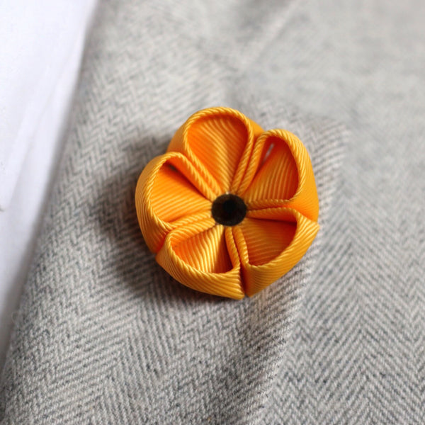 Amber Yellow Silk Ribbon Lapel Flower