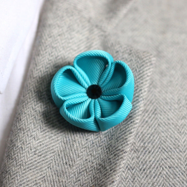 Aqua Blue Silk Ribbon Lapel Flower