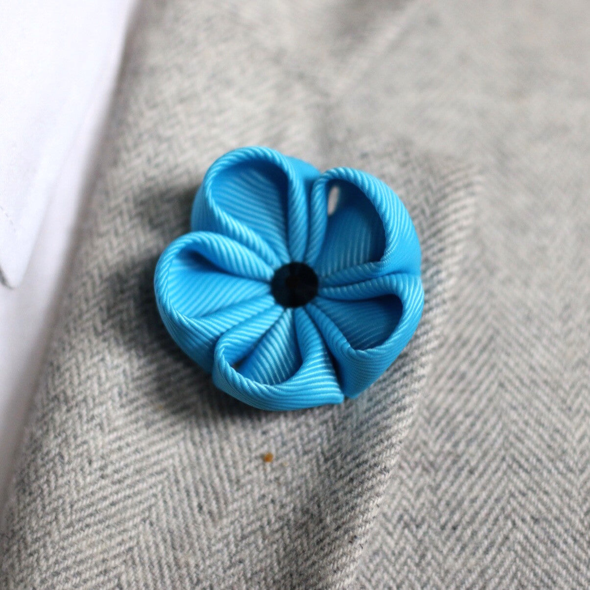 Azure Blue Silk Ribbon Lapel Flower