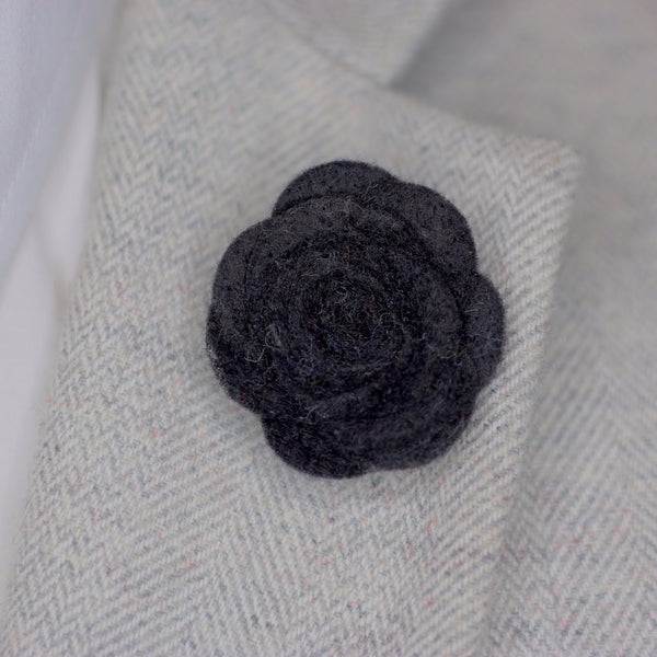 Black Felt Lapel Flower