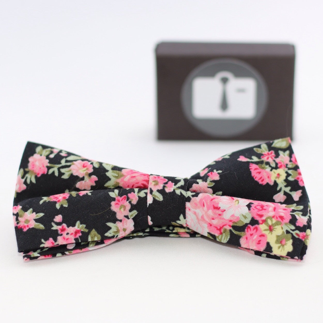 Black Floral Bow Tie With Pink Bloom Design