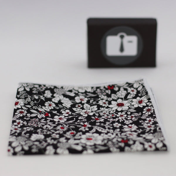 Black Floral Pocket Square With White Botanical Design