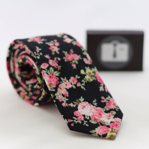 Black Floral Tie With Pink Bloom Design