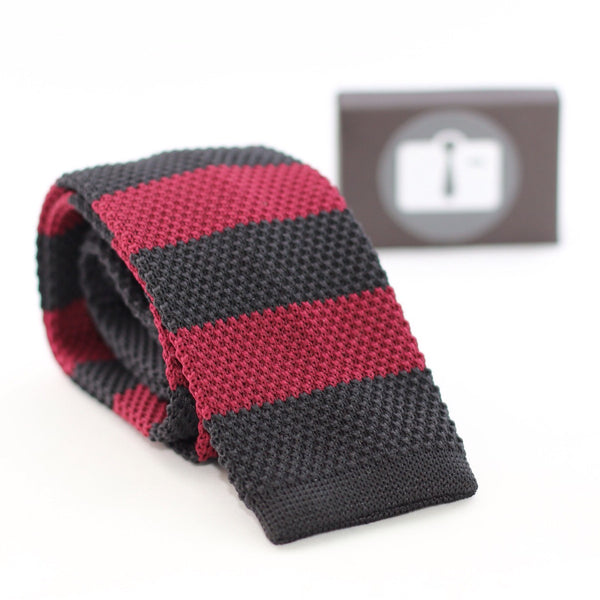 Black Knitted Tie With Burgundy Stripes