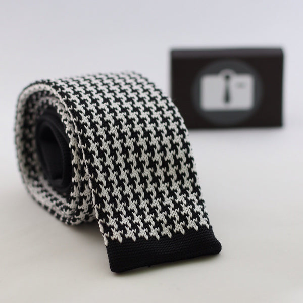 Black Knitted Tie With White Houndstooth Pattern