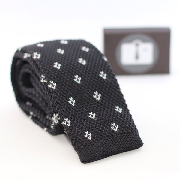 Black Knitted Tie With White Pixel Diamonds