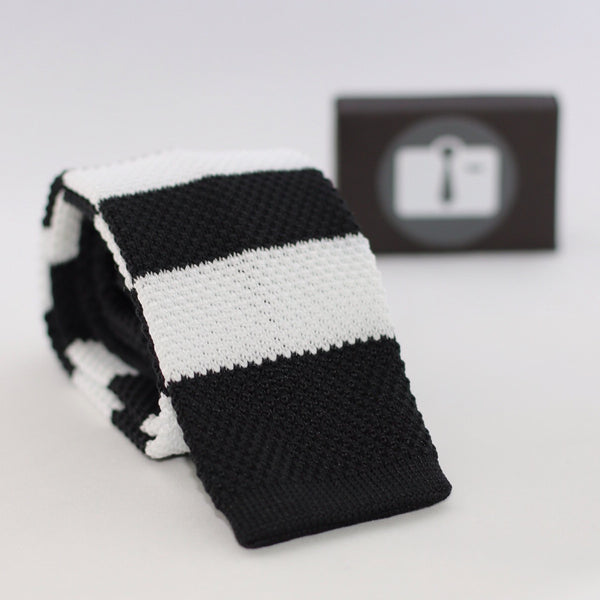 Black Knitted Tie With White Stripes