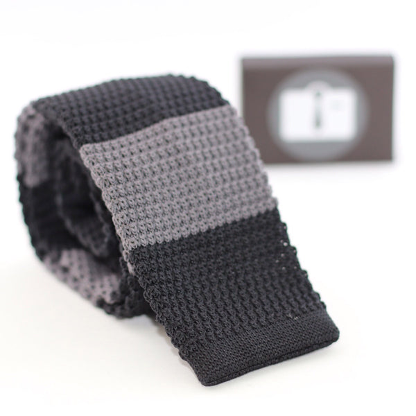 Black Knitted Tie With Wide Grey Stripes